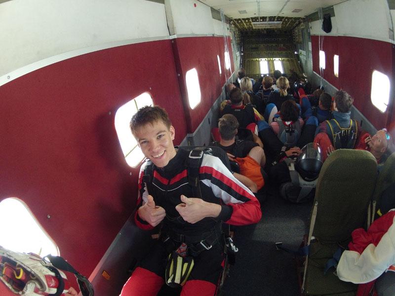 Tandemspringen mit besten Platz im Flugzeug
